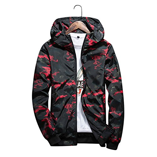 Mary Steele Men's Spring Summer Hood Jackets Camouflage Print Waterproof Windbreaker Casual Bomber Jacket Coat Outwear Red L (Summer Futon)