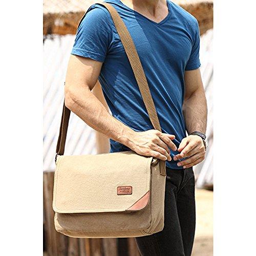Outreo Bolso Bandolera Hombre Vintage Messenger Bag Bolsos de Tela Bolsos Originales para Escolares Libro Bolsa de Lona Tablet Colegio Bolsas de Viaje Beige