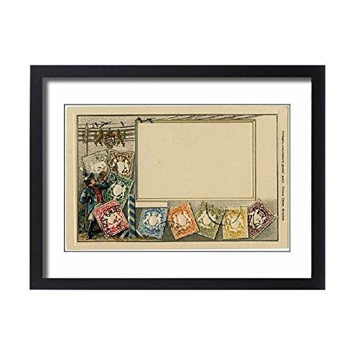Prints Prints Prints Framed 24x18 Print of Stamp Card produced by Ottmar Zeihar - Bavaria, Germany (14393715) - Bavaria Stamp