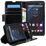 LEEGU Motorola Droid Turbo Ballistic Nylon Case, Flip Wallet Leather Case Soft Cover with Stand Card Holder for Motorola Droid Turbo (Only Fit Ballistic Nylon) XT1225 Black