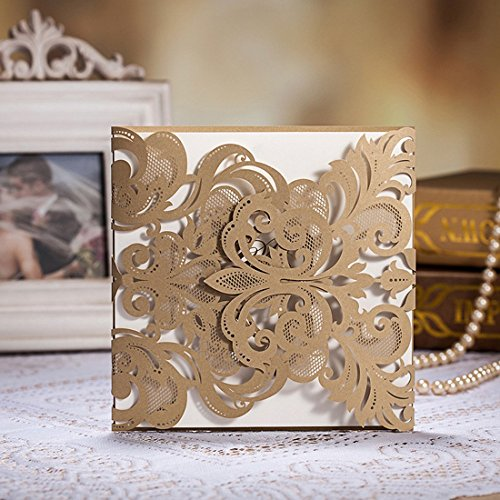 WISHMADE 50 Count Elegant Laser Cut Wedding Invitations Cards Kits Gold Champagne White Printbable Paper with Envelopes (Damask Wedding Invitations)