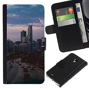 For Samsung Galaxy S4 Mini i9190 MINI VERSION!,S-type® Night Street Buildings Skyline Sunset - Dibujo PU billetera de cuero Funda Case Caso de la piel de la bolsa protectora