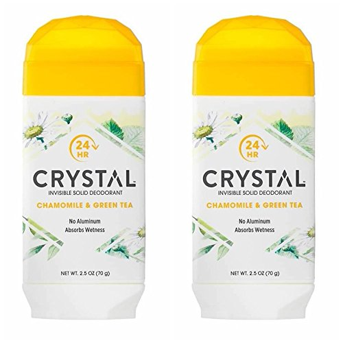 Green Tea Deodorant Stick - Crystal Chamomile and Green Tea Invisible Solid Deodorant (Pack of 2) With Mimosa Leaf, Sweet Violet Extract, Lotus Blossom and Orange Peel Extract, For Long-Lasting, 24-Hour Protection, 2.5 oz.