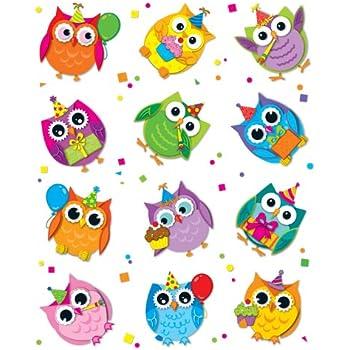 Carson Dellosa Celebrate with Colorful Owls Shape Stickers (168145)