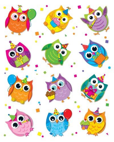 - Carson Dellosa Celebrate with Colorful Owls Shape Stickers (168145)