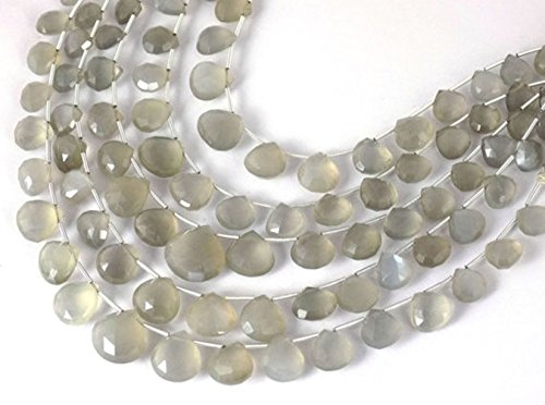 (1 Strand Natural Light Grey Moonstone Faceted Heart Shape Briolette Beads 6x6-12x12mm Gemstone Beads,7