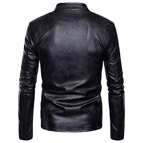 Stand Jacket Coat Tomatoa Leather Black Casual Imitation Slanted Zipper Coat Wild Men's Zipper Men Leather Fashion Coat Collar qXwXxzRap