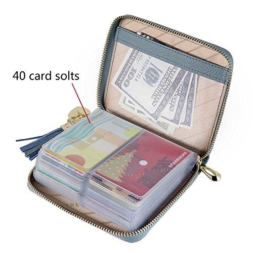 SafeCard 40 Card Solts Women's Credit Card Case Wallet 2 ID Window and Zipper Card Holder (40 Card Blue) by ZORESS