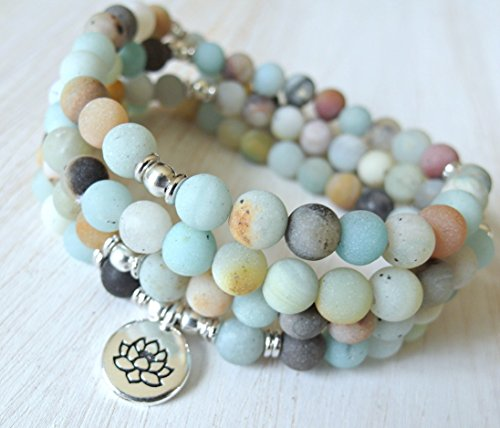 108 Mala amazonite, prayer beads, Mala beads, Meditation, your choice charm, Lotus, buddha, Om, can be worn as a bracelet or a necklace, free US shipp…