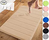 Yimobra Memory Foam Bath Mat Large Size 31.5 by 19.8 Inch,Maximum Absorbent,Soft,Comfortable,Non-Slip,Easier to Dry for Bathroom,Beige (Presented Wall Hooks 3 Pack)