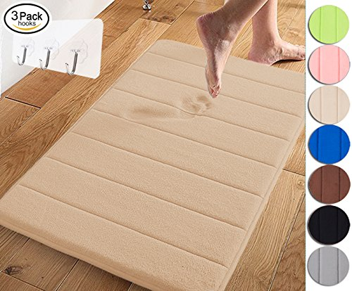 Yimobra Memory Foam Bath Mat Large Size 31.5 by 19.8 Inch,Maximum Absorbent,Soft,Comfortable,Non-Slip,Easier to Dry for Bathroom,Beige (Presented Wall Hooks 3 Pack) (Color Wall Bath No)