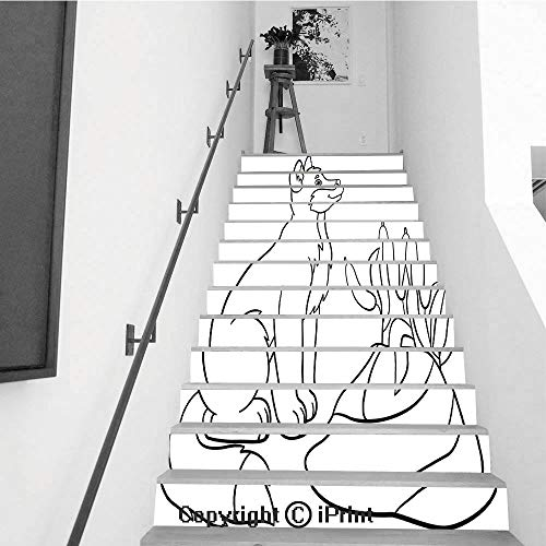 Stair Stickers Wall Stickers,13 PCS Self-Adhesive,Make Your Home Unique,Coloring Pages Little Cute Baby Wolf Smiles 1