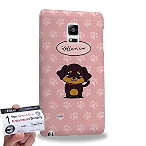 Case88 [Samsung Galaxy Note Edge] 3D impresa Carcasa/Funda dura para & Tarjeta de garantía - Art Hand Drawing Rottweiler Cartoon Puppy