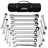 18pc MM/Metric TIGHTSPOT Ratcheting Wrenches MASTER SET - With BEAR KEEPER Rollup Case - Our standard in safety for combination wrench sets from gear to tip