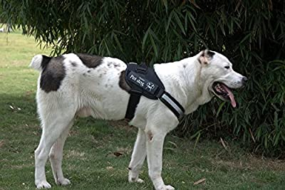 Dog Harness Vest, BESTEAM Training Reflective Calming Adjustable Dogs Vest with flashlight attachments