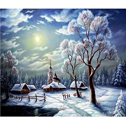 DIY 5D Diamond Painting Kit Full Drill Crystal Rhinestone Embroidery for Home Wall Decor Wall Sticker 30 * 35CM Snow Sunrise 1 Set YaphteS