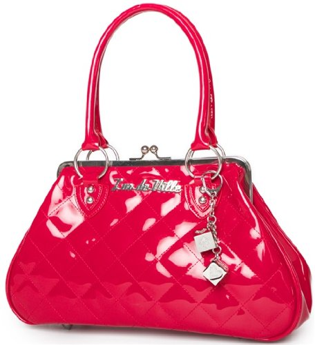 Lux De Ville Sin City Kiss Lock Bag Patent Vinyl Vegan Handbag Rockabilly Retro -Red