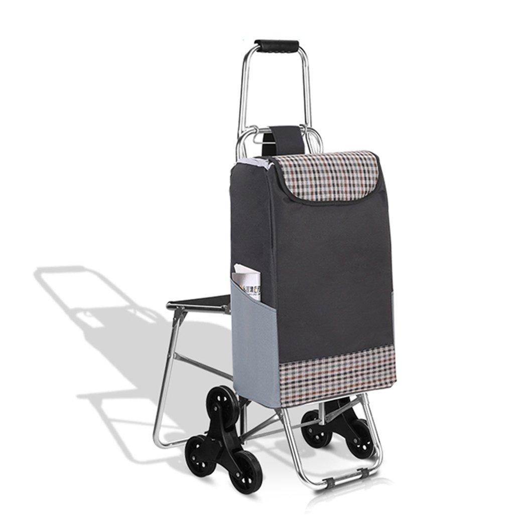 GLJ Sechsrädriger Aluminiumlegierungswarenkorb Für Die Älteren Personen, Altmodischer Einkaufswagen, Faltendes Fahrrad, Hauptlaufkatze, Laufkatzenauto Wagen