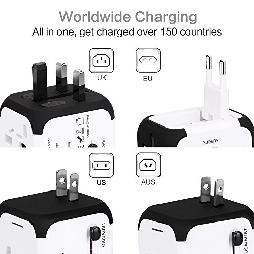 Travel Adapter Uppel Dual USB All-in-one Worldwide Travel Chargers Adapters for US EU UK AU about 153 countries Wall Universal Power Plug Adapter Charger with Dual USB and Safety Fuse (White)