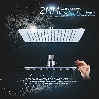 SR SUN RISE 10 Inch Ultra Thin Solid Square Stainless Steel Rain Shower Head High Pressure Rainfall Shower Head Chrome SRSH-1003