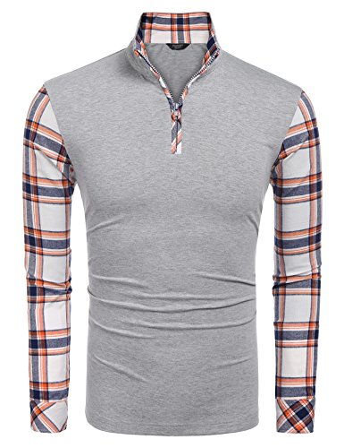 Coofandy Men's Casual Long Sleeve Plaid Shirt Zipper Polo Shirts,Large,Grey by COOFANDY (Image #1)