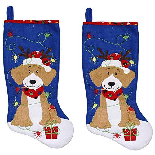 New Traditions 2-Pack of 19inch Fleece Pet Stocking (Blue) -