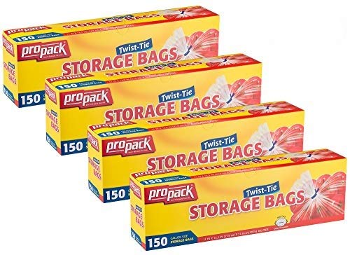 Propack Clear Disposable Plastic Twist & Tie Gallon Size Storage Bags, Great Use for Every Day Snacks, Sandwiches, Fridge Or Freezer, 4 Pack (600 Bags)