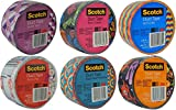 Scotch Brand Craft Duct Tape Designs Multi Pack Bundle 6-Rolls Each Roll 1.88 inches Wide by 10 Yards Long (Multi 4)