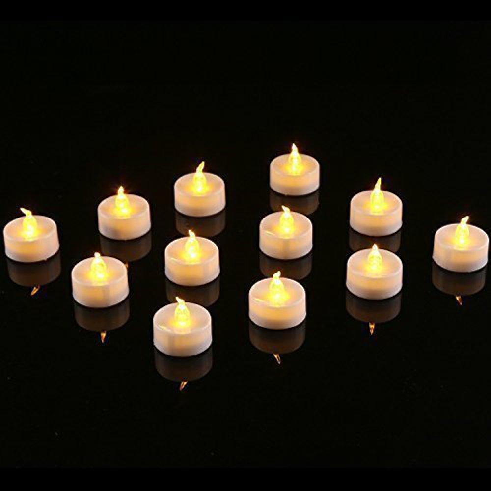 Waynewon LEDフレイムレスキャンドル、リアルな、ちらつきフレーム, Warm Amberグロー、電池式 pack of 12 ホワイト SNW-CL-2 B01B0LWU0U 14513 Tea Lights Tea Lights
