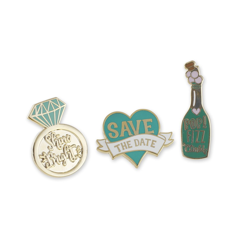 WIZARDPINS Save The Date, Champagne Bottle, Diamond Ring, Hashtag, Cupid Heart, Wedding Cake Hard Enamel Lapel Pin Set– 6 Pins