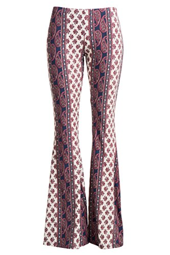 Fashionomics Womens Boho Comfy Stretchy Bell Bottom Flare Pants (S, BH43)