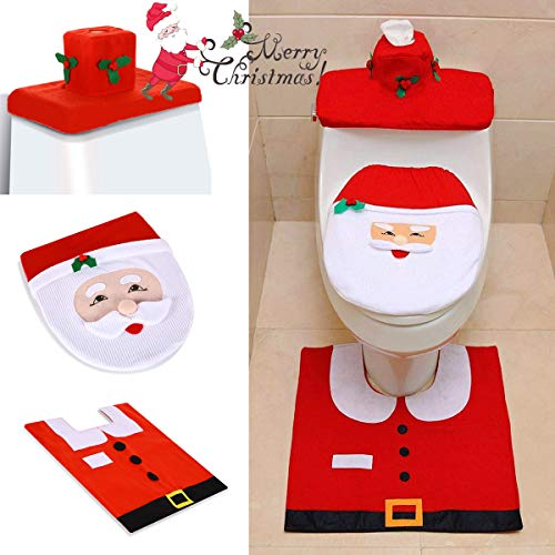 Easymore Christmas Decorations Toilet lid 3 Set Happy Santa Toilet Seat Cover and Rug Set Christmas Bathroom Decorations Toilet Tank lid Cover Party Gifts for Kids (Santa)