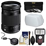 Sigma 18-300mm f/3.5-6.3 Contemporary DC Macro OS HSM Zoom Lens with USB Dock + 3 Filters + Flash + Diffuser + Kit for Canon EOS DSLR Cameras