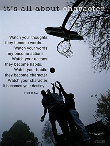 (It's All About Character Laminated Motivational Basketball Poster)