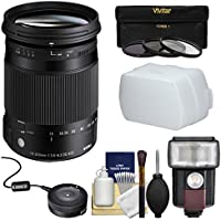 Sigma 18-300mm f/3.5-6.3 Contemporary DC Macro OS HSM Zoom Lens with USB Dock + 3 Filters + Flash + Diffuser + Kit for Nikon DSLR Cameras