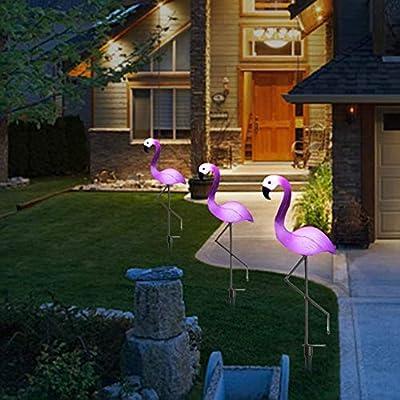 AOKARLIA 3 Kit Luces Solares Jardín LED - Flamingo Ornamento de Jardín - Luces Solares para Exterior Acero Inoxidable Impermeables para Patio,Césped,Pasillo,Instalación Fácil Sin Cables,Rosado: Amazon.es: Deportes y aire libre
