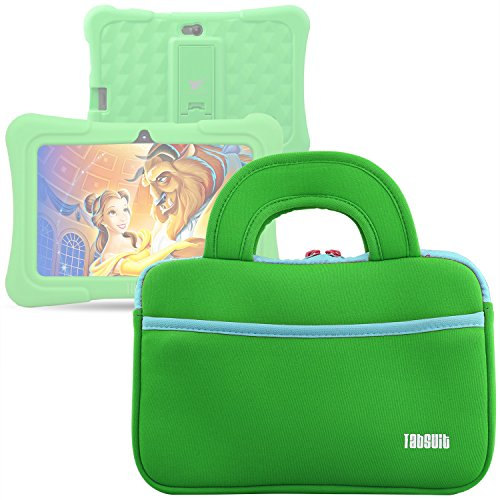 TabSuit 7 Tablet Bag Compatible for Dragon Touch Y88X Plus/Y88X/M7 Kids Tablet, Dragon Touch S7/S8 Tablet Ultra-Portable Neoprene Zipper Carrying Sleeve Case Bag with Accessory Pocket- Green