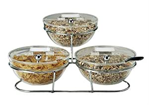 Paderno World Cuisine 5-3/8-Inch Diameter Bowls, Lids and Stand, Set of 3 by World Cuisine