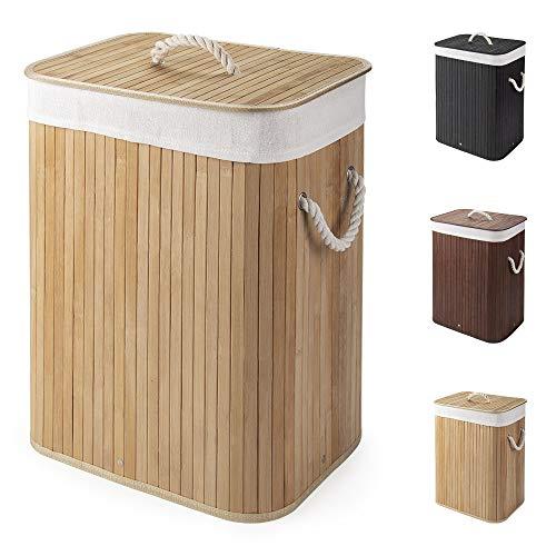 Virklyee Wäschekorb aus Bambus 60L Faltbar Wäschebox Wäschetonne mit Herausnehmbaren Wäschesack Tragegriff Wäschesortierer Wäschetruhe Wäschesammler mit Deckel (Holzfarbe)