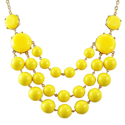 Retro Beaded Necklace (Jane Stone Fashion Collar Chunky Necklace Statement Necklace 3 Layering Bead(Fn0490-Yellow))