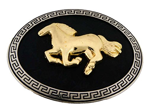 Running Horse Belt Buckle Gold 3d Black Oval Unisex Western Us Style New Fashion from Generic/Buckleszone