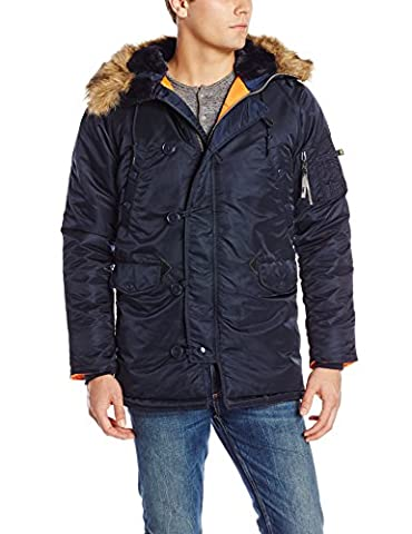 Alpha Industries Men's N-3B Slim-Fit Parka Jacket with Removable Faux-Fur Hood Trim, Replica Blue, - Fur Trimmed Knit Jacket