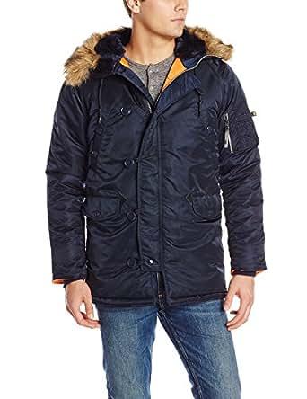 Alpha Industries Men's N-3B Slim-Fit Parka Jacket with Removable Faux-Fur Hood Trim, Replica Blue, X-Small