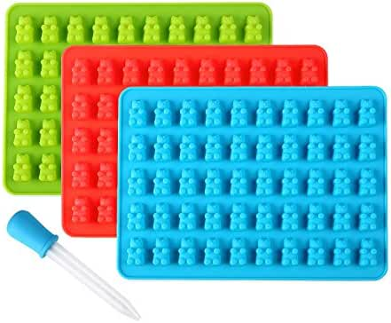 Lizber Candy Molds 3 Pack, Silicone Gummy Bears Chocolate Molds 50 Cavities with Bonus Dropper, FDA Approved (Blue, Green, Red)