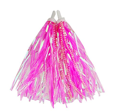 Kids Scooter & Bike Handlebar Streamers with Beads/Trike Handgrip Colorful Ribbons/Bicycle Grips Sparkle Tassel Ribbon /Baby Carrier Accessories (Pink) (Bell Pink Ribbon)