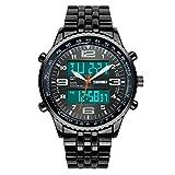 Fanmis Men's Luxury Waterproof Analog-Digital Black Steel Band Wrist Watch