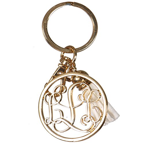 Crown Monogrammed Personalized Alphabet Initial Letter Keychain, Key Ring, Bag Charm w/ Tassel (L-Gold) ()