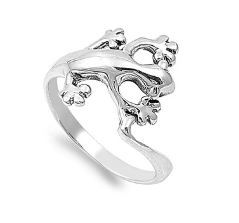 925 Sterling Silver Designer Gecko Lizard Ring Size 8