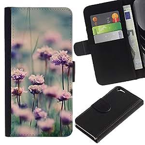 Billetera de Cuero Caso Titular de la tarjeta Carcasa Funda para Apple Iphone 6 4.7 / Flowers Meadow Nature Sun / STRONG