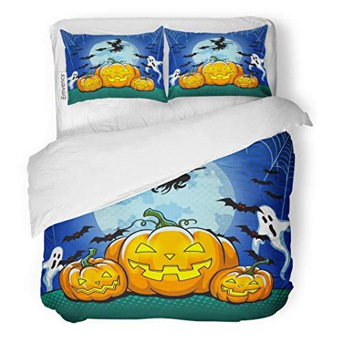 Tarolo Bedding Duvet Cover Set Colorful Bat Halloween Pop Retro Raster Symbol Pumpkin Comic Book Imitation Cartoon 3 Piece Twin 68